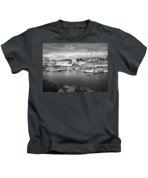 Port Of Angra Do Heroismo, Terceira Island, The Azores In Black And White Kids T-Shirt