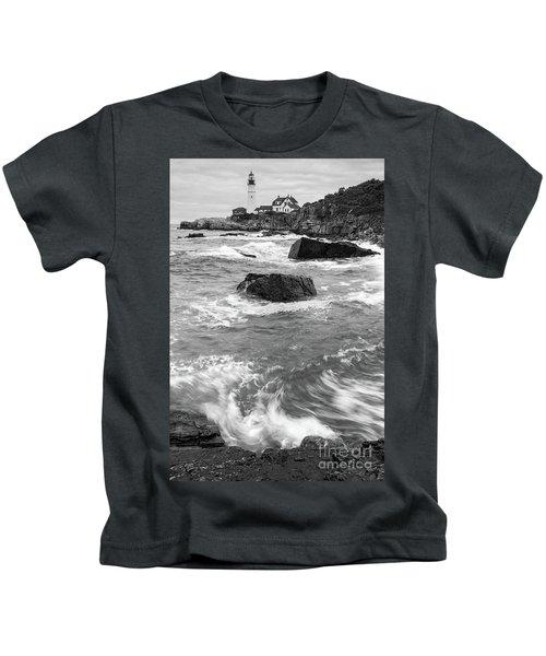 Portland Head Light Under Heavy Skies  -88356 Kids T-Shirt