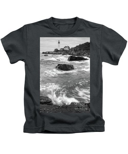 Portland Head Light Under Heavy Skies  -88356 Kids T-Shirt