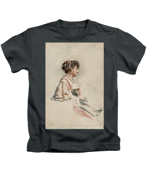 Portrait Of A Young Woman Kids T-Shirt