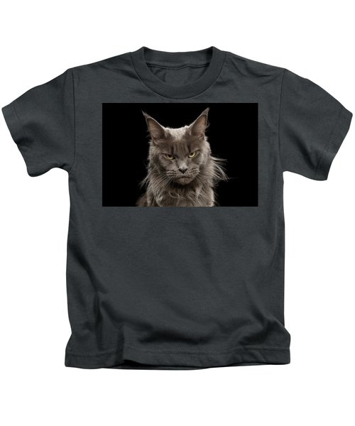 Portrait Of Angry Maine Coon On Black Kids T-Shirt