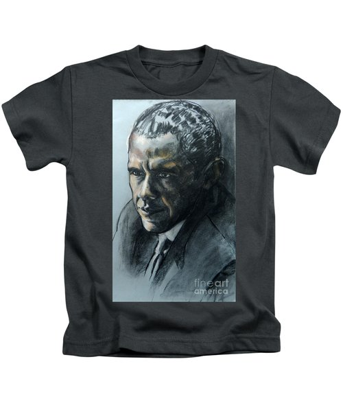 Charcoal Portrait Of President Obama Kids T-Shirt