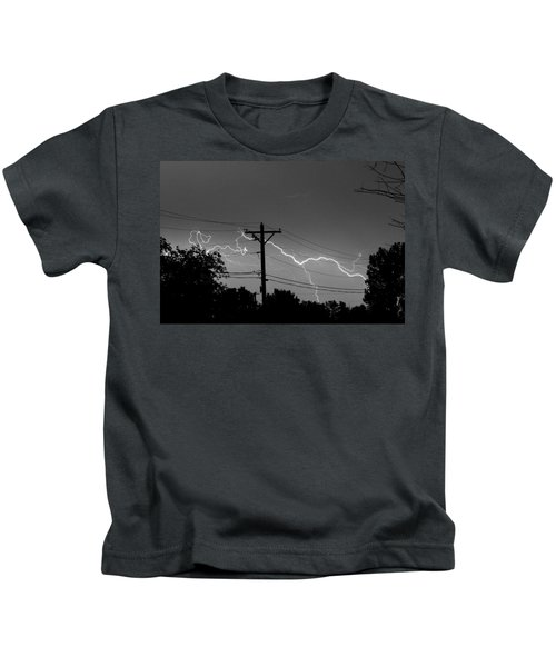 Power Lines Bw Fine Art Photo Print Kids T-Shirt