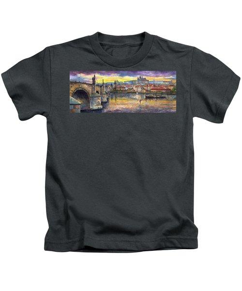 Prague Charles Bridge And Prague Castle With The Vltava River 1 Kids T-Shirt