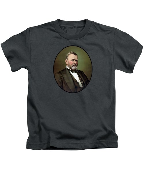 President Ulysses S Grant Portrait Kids T-Shirt by War Is Hell Store