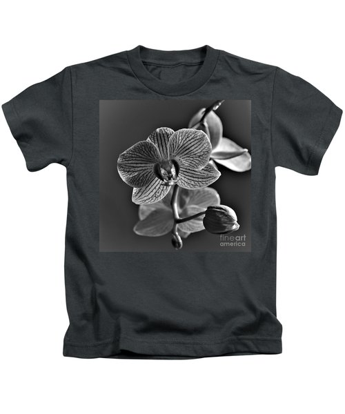 Kids T-Shirt featuring the photograph Pretty Orchid Bw by Jeremy Hayden