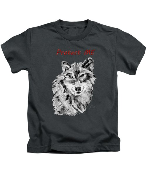 Protect Me - Wolf Art By Valentina Miletic Kids T-Shirt by Valentina Miletic