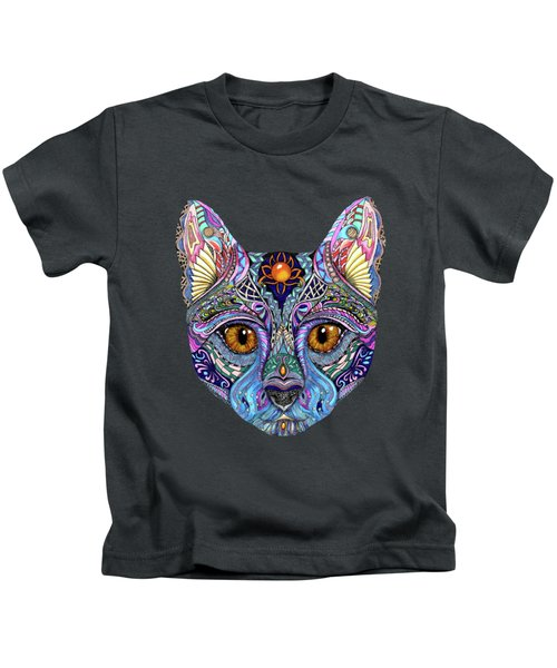 Psychedelic Cat With Mystic Background Kids T-Shirt