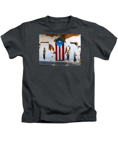 Puerto Rican Flag On Wooden Door Kids T-Shirt