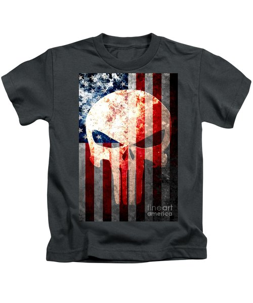 Punisher Themed Skull And American Flag On Distressed Metal Sheet Kids T-Shirt