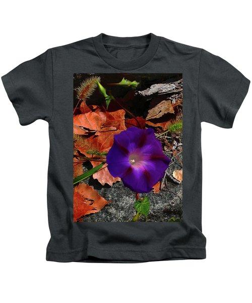 Purple Flower Autumn Leaves Kids T-Shirt