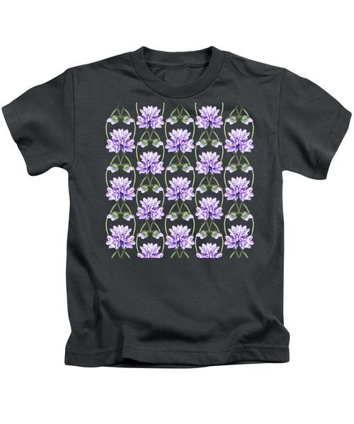 Purple Flowers Hearts Pattern Kids T-Shirt