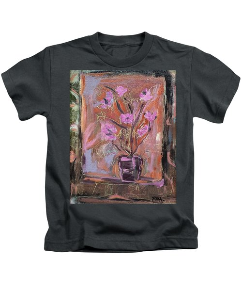 Purple Flowers In Vase Kids T-Shirt
