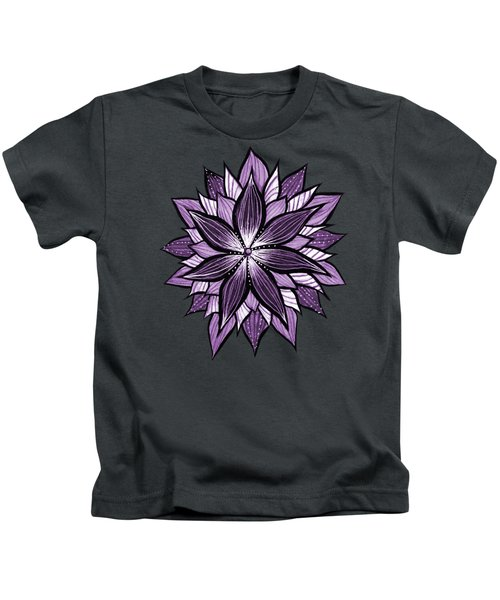 Purple Mandala Like Ink Drawn Abstract Flower Kids T-Shirt