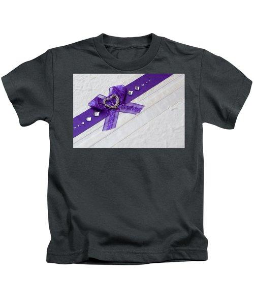 Purple Ribbon Heart Kids T-Shirt