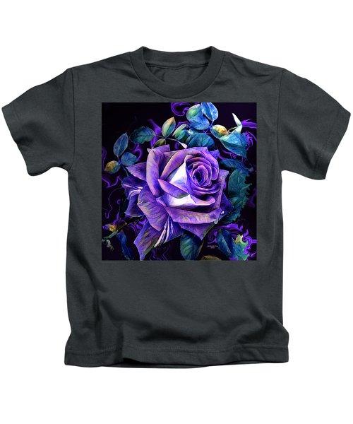 Purple Rose Bud Painting Kids T-Shirt