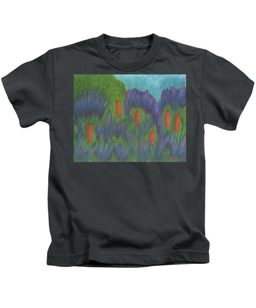 Purple Strife And Cattails Kids T-Shirt