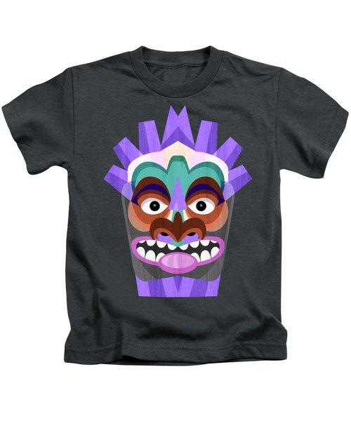 Purple Tiki Mask Kids T-Shirt