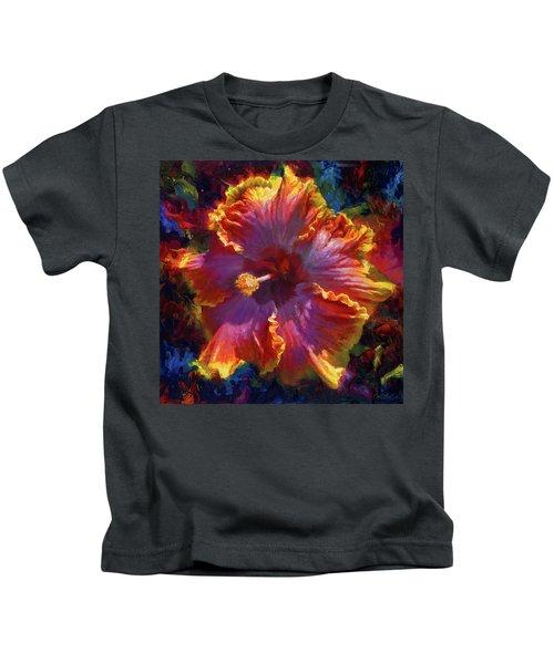 Rainbow Hibiscus Tropical Flower Wall Art Botanical Oil Painting Radiance  Kids T-Shirt