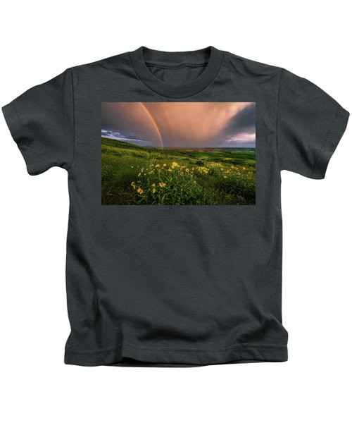 Rainbow At Steptoe Butte Kids T-Shirt