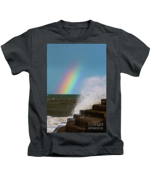Rainbow Over The Crashing Waves Kids T-Shirt
