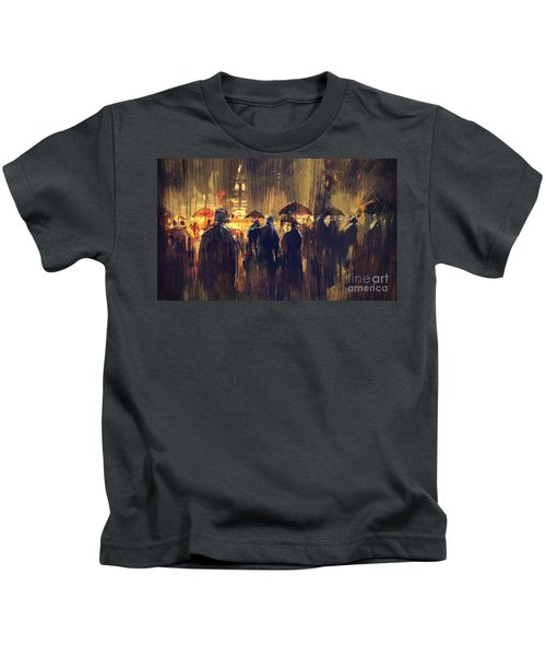 Kids T-Shirt featuring the painting Raining by Tithi Luadthong