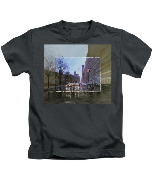 Rainy City Street Layered Kids T-Shirt