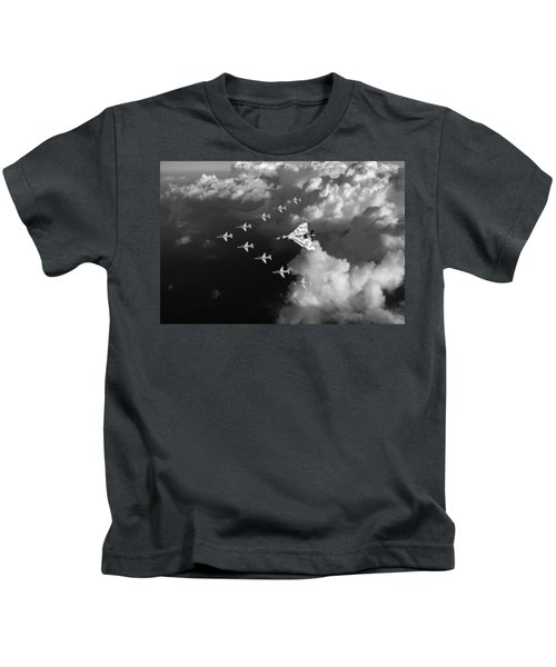 Red Arrows And Vulcan Above Clouds Black And White Kids T-Shirt