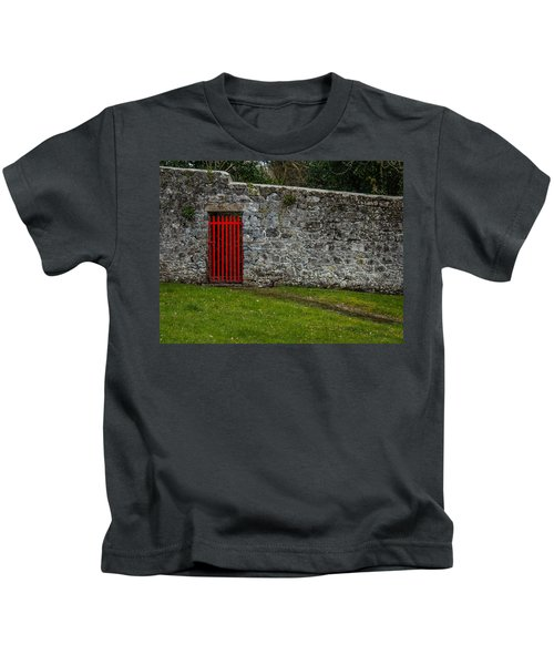 Kids T-Shirt featuring the photograph Red Gate At Coole Park Estate by James Truett