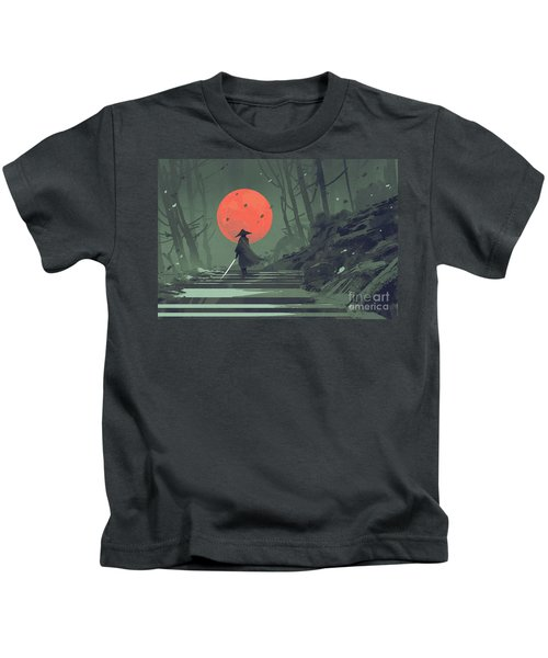 Kids T-Shirt featuring the painting Red Moon Night by Tithi Luadthong