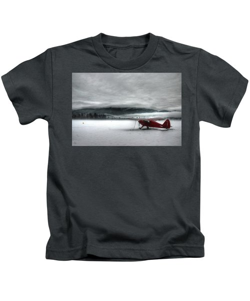 Red Plane In A Monochrome World Kids T-Shirt