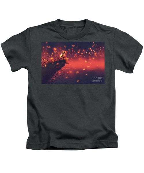 Kids T-Shirt featuring the painting Red Planet by Tithi Luadthong
