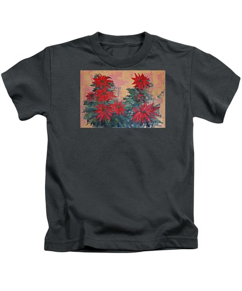 Red Poinsettias By George Wood Kids T-Shirt