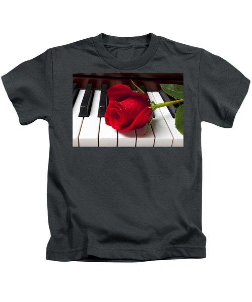 Red Rose On Piano Keys Kids T-Shirt