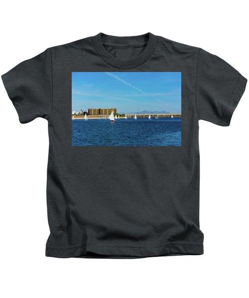Red Sailboat In The Desert Kids T-Shirt