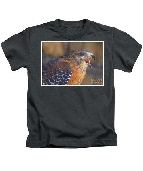 Red Shoulder Hawk Kids T-Shirt