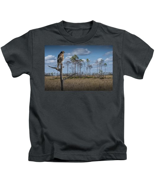 Red Shouldered Hawk In The Florida Everglades Kids T-Shirt