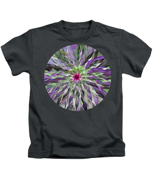 Red Star Thistle Kaleidoscope Kids T-Shirt