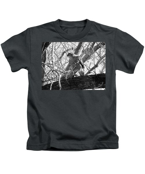 Red Tail Hawk In Black And White Kids T-Shirt