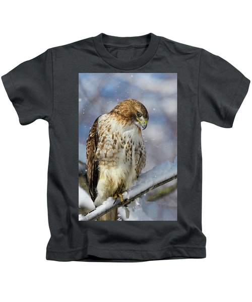 Red Tailed Hawk, Glamour Pose Kids T-Shirt