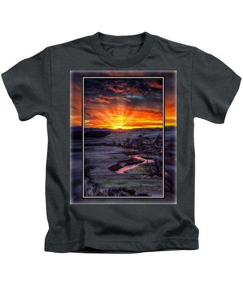Redwater River Sunrise Kids T-Shirt
