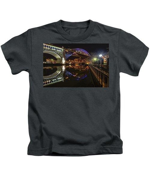 Reflections Of Veterans Memorial Bridge  Kids T-Shirt