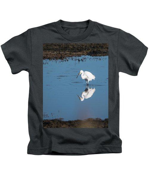Reflections White Egret Kids T-Shirt