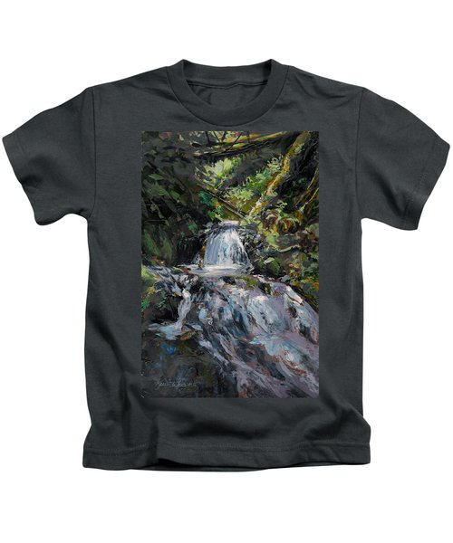 Refreshed - Rainforest Waterfall Impressionistic Painting Kids T-Shirt