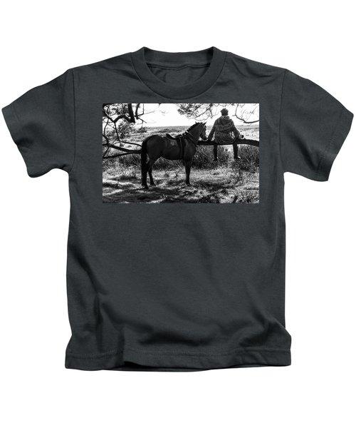 Rider And Horse Taking Break Kids T-Shirt