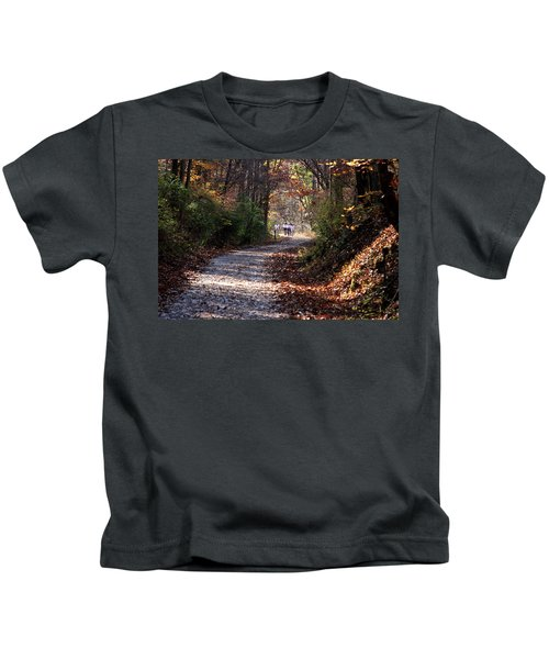 Riding Bikes On Park Trail In Autumn Kids T-Shirt