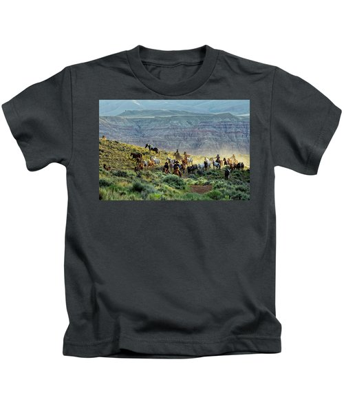 Riding Out Of The Sunrise Kids T-Shirt