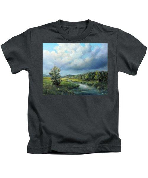 River Landscape Spring After The Rain Kids T-Shirt