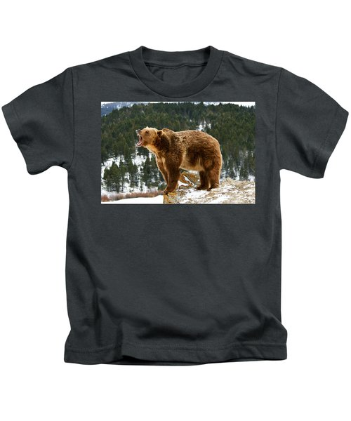 Roaring Grizzly On Rock Kids T-Shirt