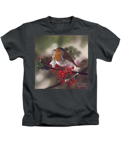 Robin And Berries Kids T-Shirt